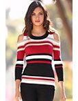 Multi Stripe Cold-shoulder Sweater Photo