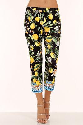 noir lemon floral side zip pant