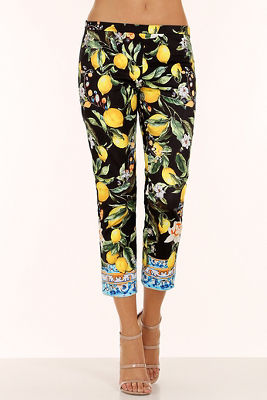 Noir lemon floral side zip pant