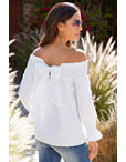 Off-the-shoulder Bow Blouse Photo