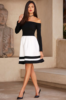 Off-the-shoulder stripe fit-and-flare dress