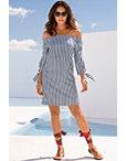 Off-the-shoulder Stripe Poplin Dress Photo