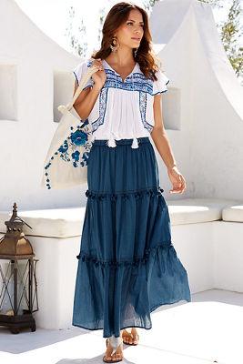 Pom-pom trim maxi skirt