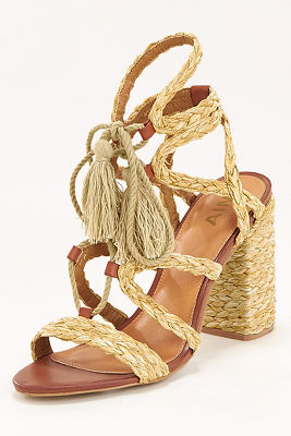 Raffia braided lace-up heel