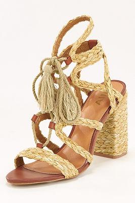 Raffia braided lace-up heel