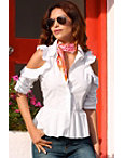 Ruffle Cold Shoulder Poplin Shirt Photo