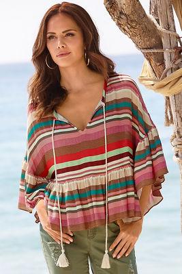 Striped flounce trim blouse