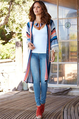Striped multi duster sweater