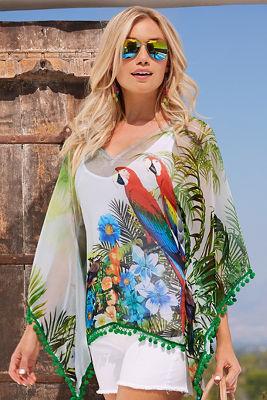 Tropical birds pom-pom tunic