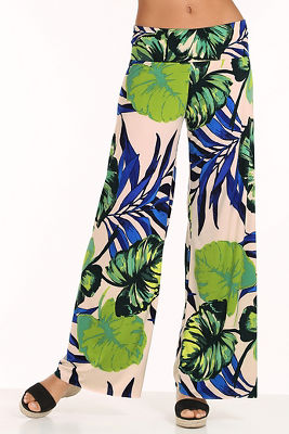 Tropical palm palazzo pant