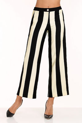 Wide striped culotte pant