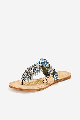 Aztec beaded fringe sandal