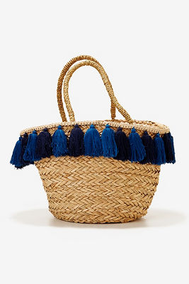 Blue tassel straw tote bag