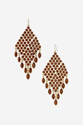 Brown beaded chandelier earrings