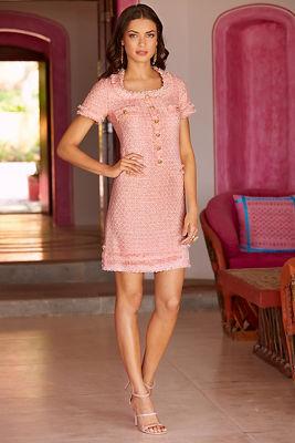 Cap sleeve tweed dress