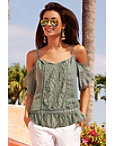 Crochet Front Cold-shoulder Blouse Photo