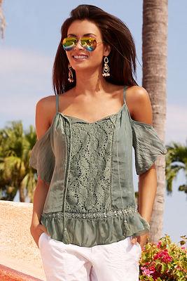 Crochet front cold-shoulder blouse