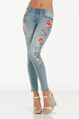 Driftwood flower embroidered jean