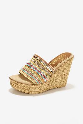 Embellished slide wedge heel