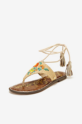 Embroidered lace-up sandal