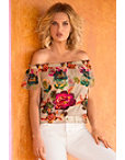Floral Embroidered Off The Shoulder Blouse Photo