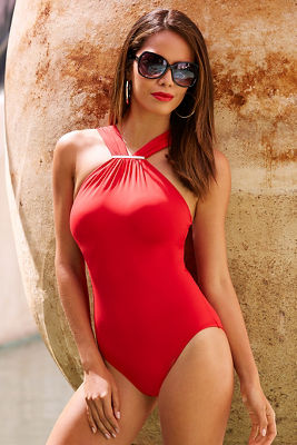 Gold detail high neck one-piece swimsuit