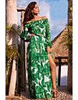Off-the-shoulder Palm Maxi Dress Photo