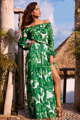 Off-the-shoulder palm maxi dress