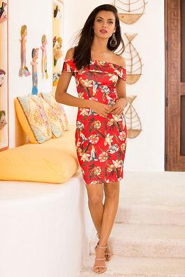 Off-the-shoulder tropical floral dress