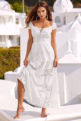 Peasant eyelet maxi dress