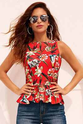 Red tropical top