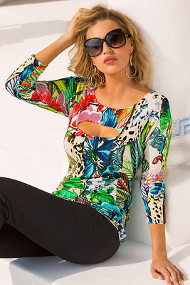Tropical print sweater
