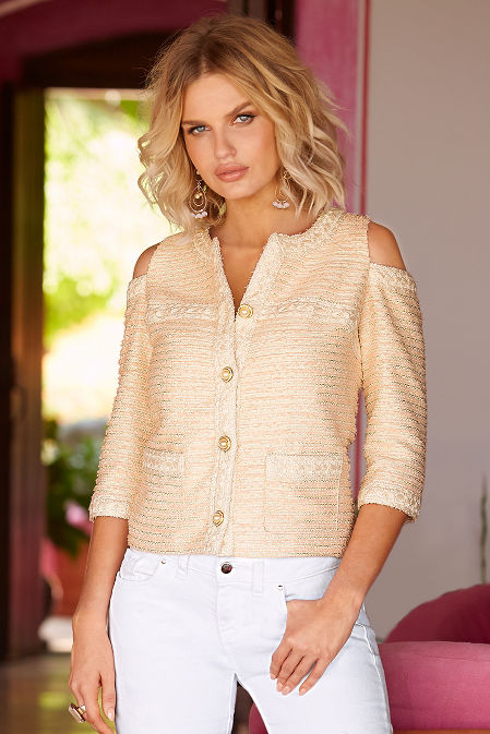 Tweed cold-shoulder jacket image