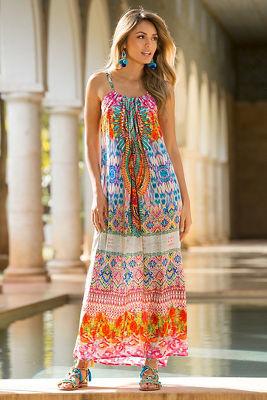 Colorful embellished maxi dress