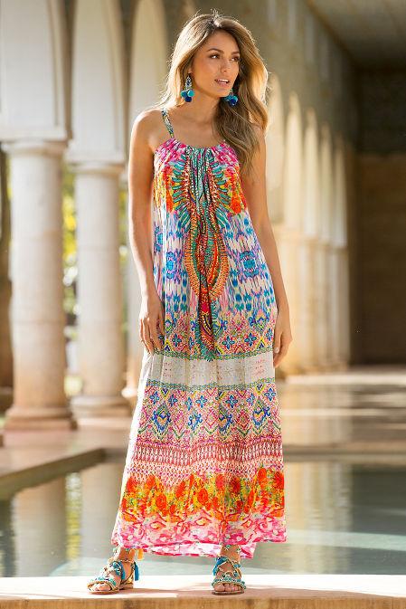 Colorful Embellished Maxi Dress Boston Proper