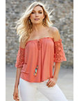 Crochet Sleeve Tassel Off-the-shoulder Top Photo