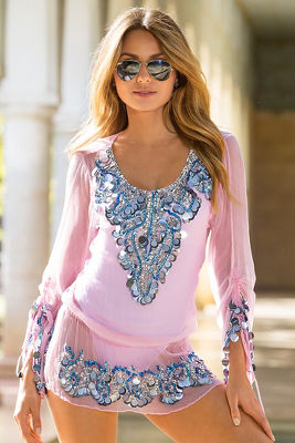 Embellished coin tunic top