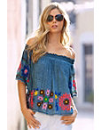 Embroidered Denim Top Photo