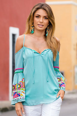 Embroidered sleeve bohemian top