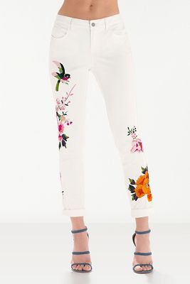 Embroidered twill chino pant