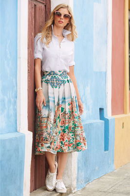 Floral cityscape skirt