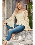 Bell-sleeve Floral Crochet Sweater Photo