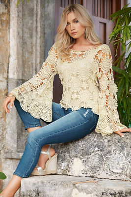Bell-sleeve floral crochet sweater