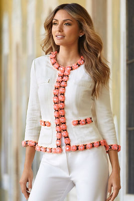 Floral trim Parisian jacket