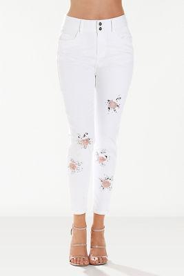 Flower pop ankle jean