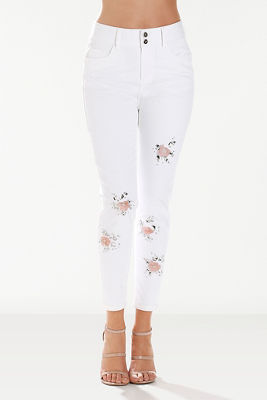 Flower pop ankle jean