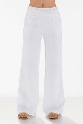 Foldover Waist Linen Pant