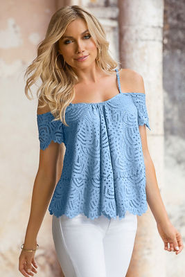 Lace cold-shoulder top