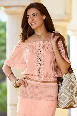 Lace inset cropped blouse