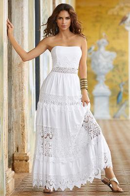 Poplin lace maxi dress